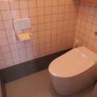 TOTOのタンクレストイレ『ネオレスト』。これだと通常のタンク式トイレよりも8cm広く取れます。